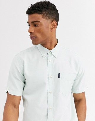 Ben Sherman short sleeve plain oxford shirt-Green