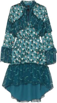 Anna Sui Cosmos Printed Fil Coupe Sateen And Crinkled Silk-chiffon Dress
