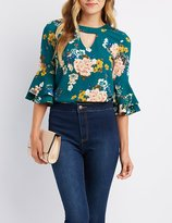 Charlotte Russe Floral Keyhole Ruffle-Trim Bell Sleeve Top