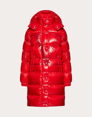 Valentino Moncler Vlogo Lacquered Nylon Long Padded Jacket Women Red 100% Poliammide 40
