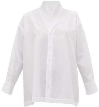 eskandar Stand-collar Cotton-poplin A-line Shirt - White