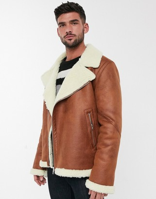 ASOS DESIGN faux shearling biker jacket with teddy lining in tan