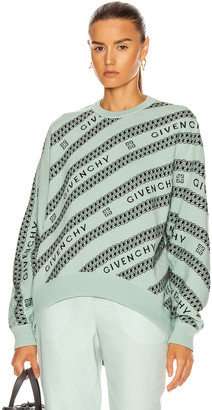 Givenchy Chain Logo Jacquard Sweater in Green & Black | FWRD