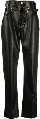 Philosophy di Lorenzo Serafini Paperbag-Waist Faux-Leather Trousers