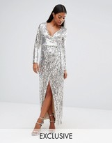 Club L Straight Sequins Wrap Over Maxi Dress
