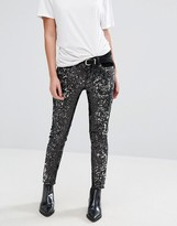 MANGO All Over Sequin Skinny Jeans