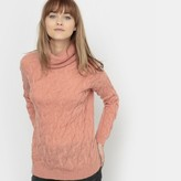 La Redoute Collections Roll Neck Cable Knit Wool/Mohair Blend Jumper
