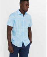Express short sleeve light blue bandana print shirt