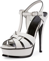 Saint Laurent Tribute Leather 135mm Platform Sandal, Blanc Craie