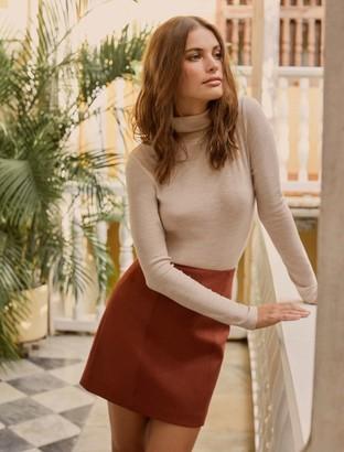Forever New Scarlette Seamed Suedette Mini Skirt - Rust - 10