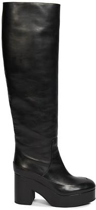 Dries Van Noten Knee-High Leather Platform Boots