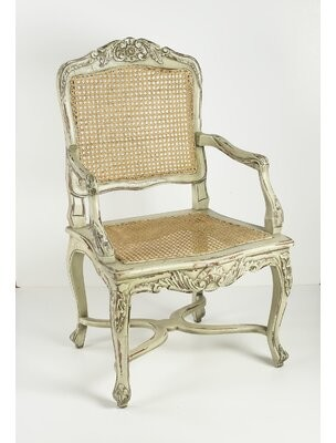 AA Importing Cane Armchair Leg Color: Distressed Parchment