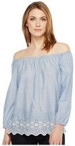 NYDJ Off Shoulder Top w/ Embroidered Detail Women's Clothing