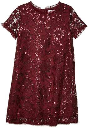 BCBGMAXAZRIA Girls Short Sleeve Floral Embroidered Sequin Dress (Big Kids)