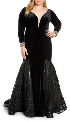 Mac Duggal Long Sleeve Velvet Mermaid Gown