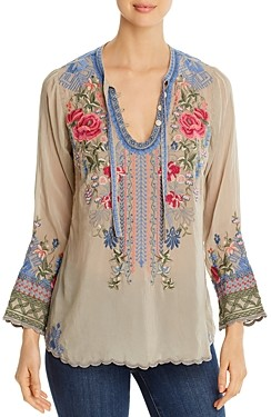 Johnny Was Millie Embroidered Tie-Neck Blouse