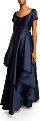 Rickie Freeman For Teri Jon Cap-Sleeve Gazar Gown w/ Asymmetric Overlay & Beaded Trim