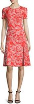 St. John Floral Knit Short-Sleeve Dress, Geranium/Putty
