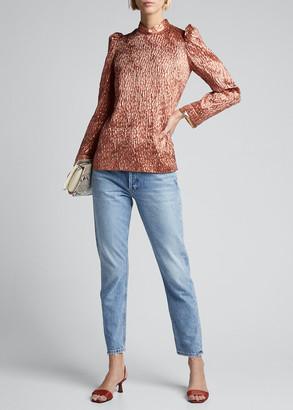 Rachel Comey Bar Crinkle Metallic Long-Sleeve Top