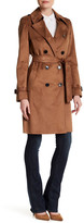 Via Spiga Double Breasted Faux Suede Trench Coat