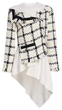 Monse Women's Twisted Tweed Hybrid Top