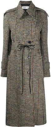 Victoria Beckham Tie-Waist Tweed Tench Coat