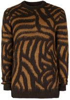 Topman Tan and Black Abstract Design Sweater