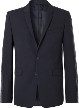 Fendi Navy Logo Jacquard-Trimmed Stretch-Virgin Wool Suit Jacket