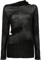 Masnada asymmetric cut out detail knitted top