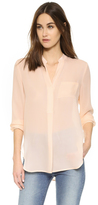 Vince Long Sleeve Pocket Blouse