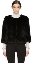Yves Salomon Black Knit Fur Liner Jacket