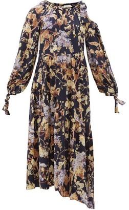 Zimmermann Sabotage Asymmetric Floral-print Silk-blend Dress - Womens - Blue Print