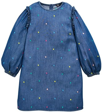 Very Girls Embroidered Denim Shift Dress - Denim