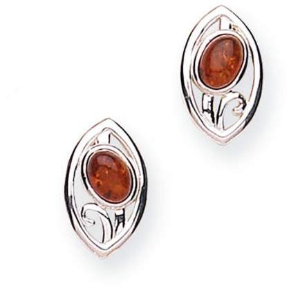 Goldmajor 925 Sterling Silver Amber Stud Earrings with a Floral Motif from Selene Collection