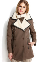RACHEL Rachel Roy Double-Breasted Faux-Fur-Trim Coat