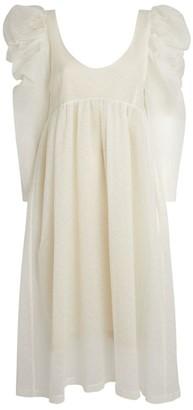 Kika Vargas Puff-Sleeve Midi Dress