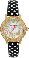 Betsey Johnson Women's Black and White Polka Dot Leather Strap Watch 33mm BJ00251-10