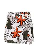 Quiz Cream And Khaki Tropical Print Skirt