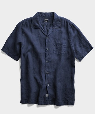 Todd Snyder Shirt Sleeve Linen Camp Collar Shirt in Navy