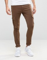 Asos Super Skinny Cargo Pants In Brown