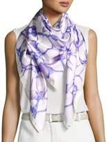 Anna Coroneo Silk Satin Square Water Scarf, Purple