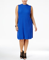 ING Trendy Plus Size Mock-Neck Shift Dress