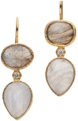 Jaipur Donatella Balsamo Jewellery Labradorite And Moonstone Drop Earrings