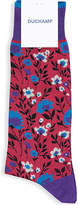 Duchamp Midnight Blue Floral Cotton-blend Socks