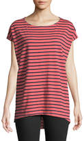 Allen Allen Striped Cap-Sleeve Tee