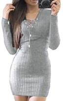 Prograce Soft Ribbed Knitted Bandage Bodycon Sweater Pencil Dress for Women Grey XXL
