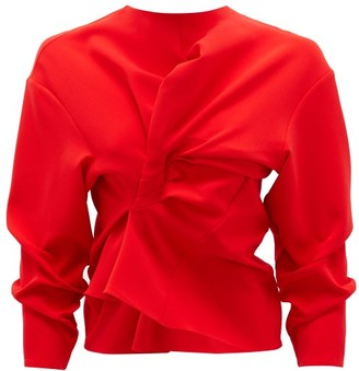 A.W.A.K.E. Mode Cutout Draped Crepe Top - Red