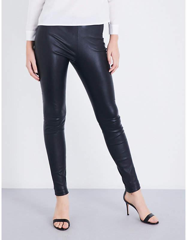 Maje Smarto high-rise stretch-leather leggings
