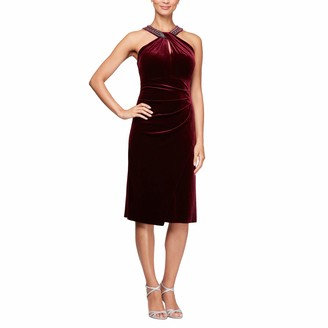 Alex Evenings Women's Short Sleeveless Velvet Dress (Petite and Regular Sizes)