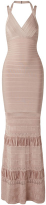 Herve Leger Pointelle Knit-paneled Bandage Gown